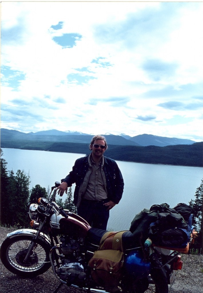 Steve Koerner and his 1977 Triumph Bonneville, somewhere in the Kootenays, circa June 1978