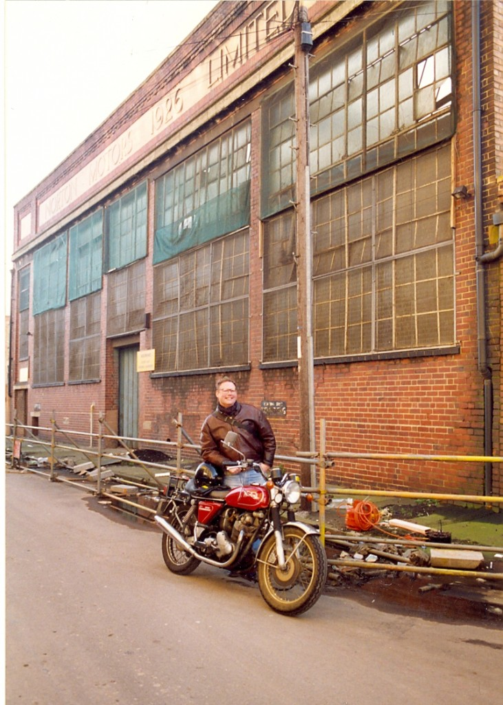 Steve Koerner in front of old Norton factory, Bracebridge St., B'ham, circa autumn 1992