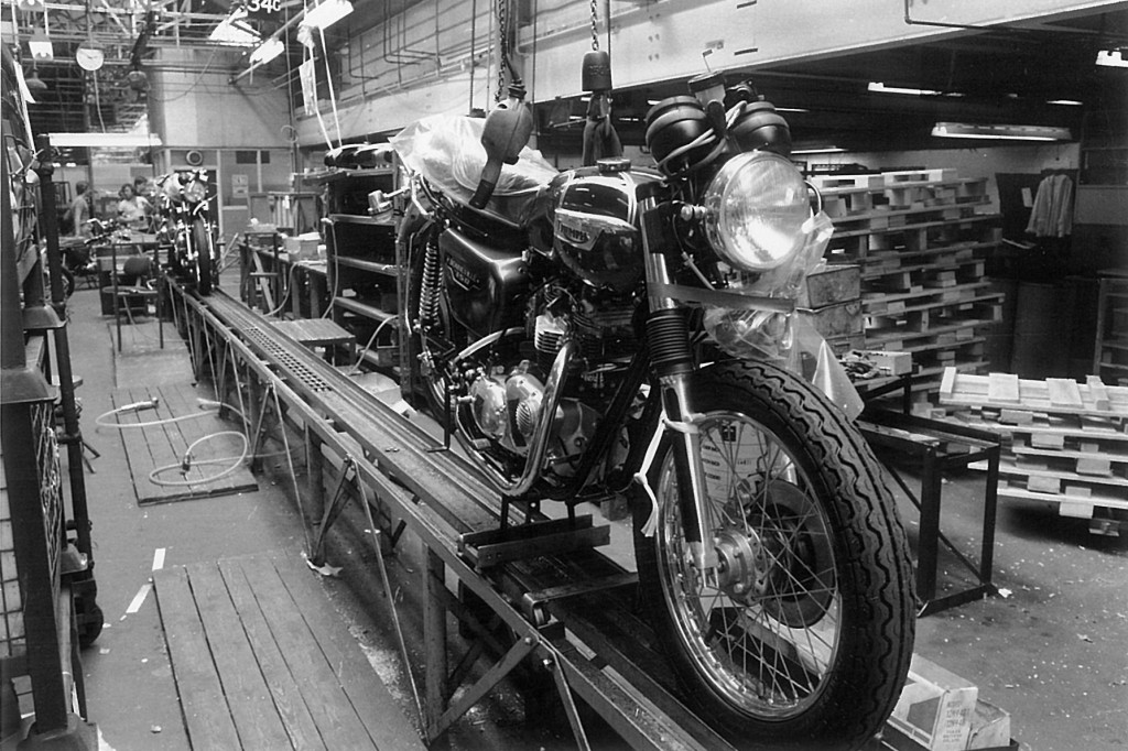 Bike on assembly line, Meriden July 1979, 1