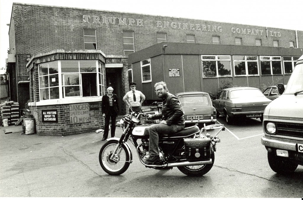 Steve Koerner visiting the  Triumph Meriden factory, June 1979.